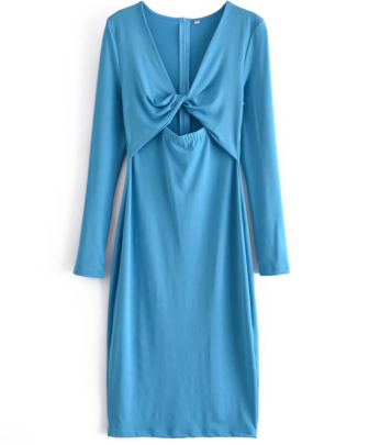V-neck Hollow Knotted Long-sleeved Solid Color Dress Nihaostyles Wholesale Clothing NSAM85354