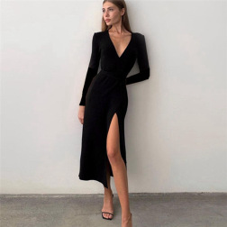 long-sleeved V-neck high-slit dress nihaostyles clothing wholesale NSXPF85373