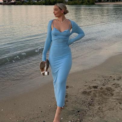 Long-sleeved Square-neck Camisole Slim Dress Set Nihaostyles Clothing Wholesale NSXPF85377