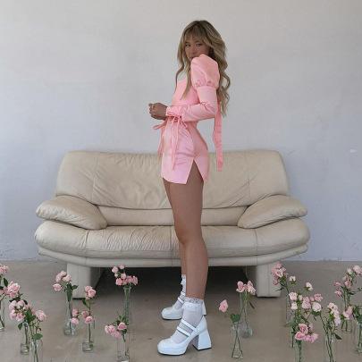 Square Neck Long Sleeve Hollow Open Back Slim Dress Nihaostyles Clothing Wholesale NSXPF85378