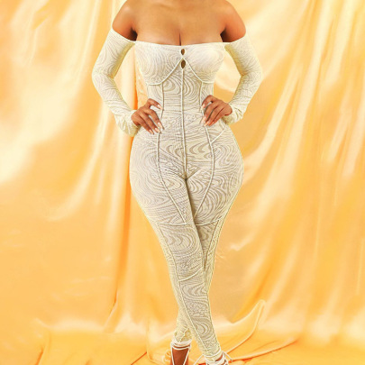 Mesh Printing Off-shoulder High Waist Tight-fitting Jumpsuit Nihaostyles Clothing Wholesale NSXPF85380