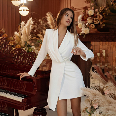 Lapel Slim Long Sleeve Irregular Hem Dress Nihaostyles Clothing Wholesale NSXPF85390