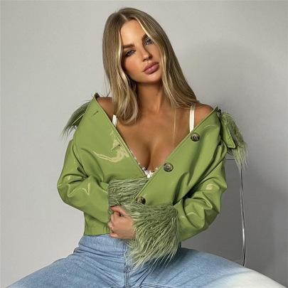 Long-sleeved Fur Collar Single-breasted Slim Leather Jacket Nihaostyles Clothing Wholesale NSXPF85395