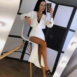 V-neck slim long-sleeved dress nihaostyles clothing wholesale NSXPF85396