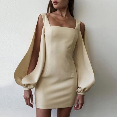 Slit Long-sleeved Square Neck Slim Fit Dress Nihaostyles Clothing Wholesale NSXPF85397
