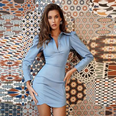 Long Sleeve Lapel Single-breasted Slim Dress Nihaostyles Clothing Wholesale NSXPF85399