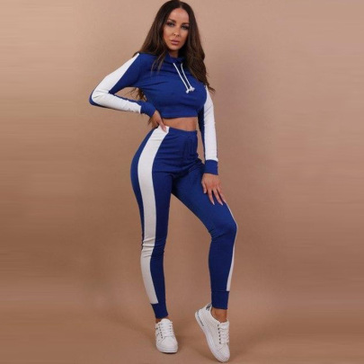 Contrast Stitching Pullover Blouse Trousers Two-piece Lounge Set Nihaostyles Clothing Wholesale NSZLJ85425