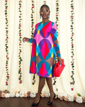 Loose Print Geometric Dress Nihaostyles Clothing Wholesale NSYNS85429