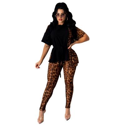 Leopard Print Stitching Short-sleeved T-shirt Trousers Set Nihaostyles Clothing Wholesale NSALI85439