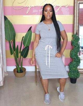 Elastic Waist Short Sleeve Pure Color Dress Nihaostyles Clothing Wholesale NSALI85441