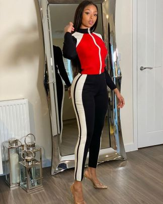 Splicing Long Sleeve Full Zipper Jacket Trousers Set Nihaostyles Clothing Wholesale NSALI85443