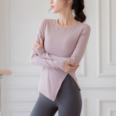 High Stretch Ribbed Slit Ends Long-sleeved Yoga Top Nihaostyles Clothing Wholesale NSZHE85450