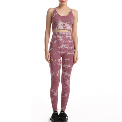High Stretch Seamless Tie-dye High Waist Hip Yoga Set Nihaostyles Clothing Wholesale NSXIN85455
