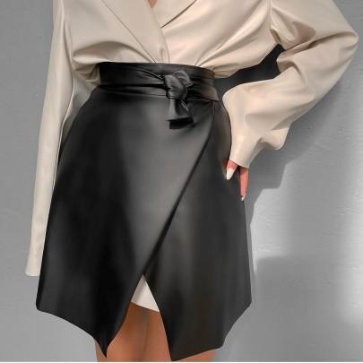 Pure Color Bandage Leather Skirt Nihaostyles Clothing Wholesale NSHML85489