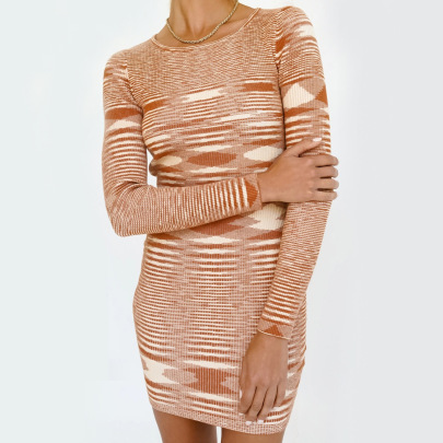 Slim Color Knitted Dress Nihaostyles Clothing Wholesale NSHML85491