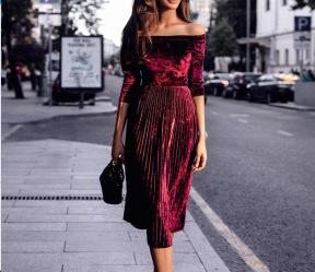 off-shoulder pleated velvet quarter-sleeve dress nihaostyles clothing wholesale NSHML85493