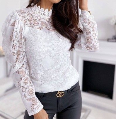 See-through Puff Sleeve Stand Collar Lace Top Nihaostyles Clothing Wholesale NSHML85495