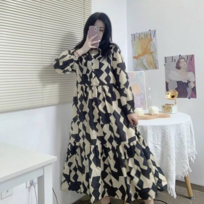 Autumn Print Long-sleeved Buttoned Shirt Dress Nihaostyles Wholesale Clothing NSAM85310