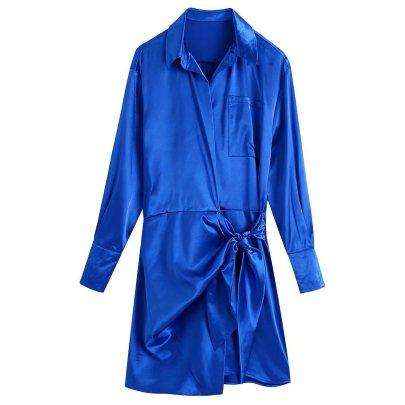Autumn Lapel Silk Satin Texture Knotted Shirt Dress Nihaostyles Wholesale Clothing NSAM85308
