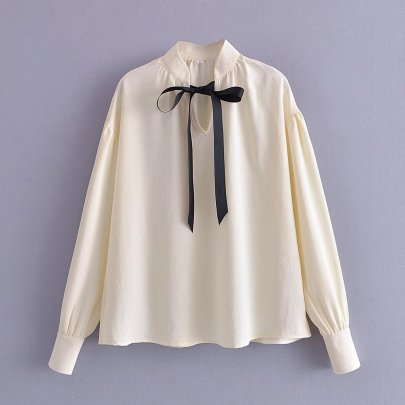 Long-sleeved Small Stand-up Collar Bow Tie Blouse Nihaostyles Wholesale Clothing NSAM85347