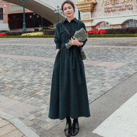 waist slim platycodon corduroy long-sleeved dress nihaostyles clothing wholesale NSFYF85630