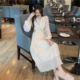 mid-length V-neck pleated chiffon dress nihaostyles clothing wholesale NSFYF85641