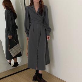 suit collar waist belt kinked over the knee dress nihaostyles clothing wholesale NSFYF85651