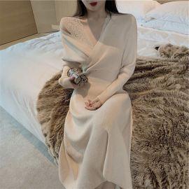 lace stitching knitted dress nihaostyles clothing wholesale NSFYF85674