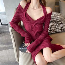 V-neck twist low-cut strapless slit knit dress nihaostyles clothing wholesale NSFYF85681