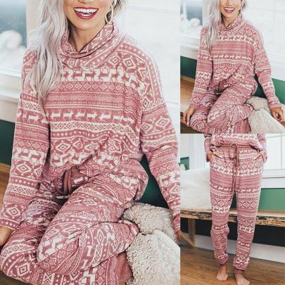 Reindeer Print Long Sleeve Casual Christmas Suit Nihaostyles Wholesale Christmas Costumes NSYID83556