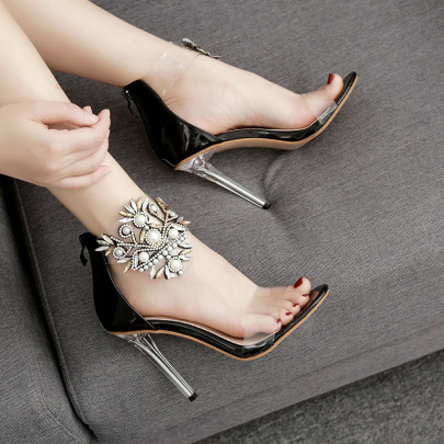 Pearl Glass Flower Exposed Toe High Heel Sandals Nihaostyles Wholesale Clothing NSSO81729