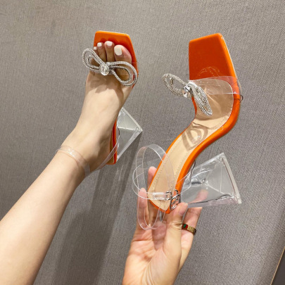 Women's Transparent Triangle High-heeled Sandals Nihaostyles Wholesale Clothing NSSO81730