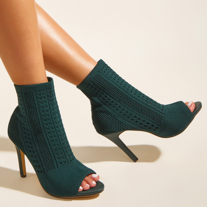 Women's Fish Mouth High-heeled Knit Boots Nihaostyles Wholesale Clothing NSSO81733