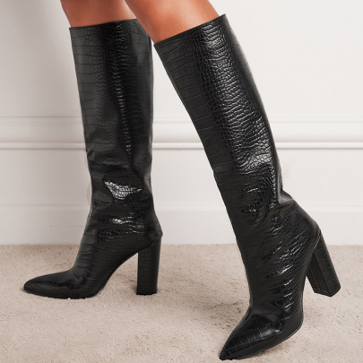 Women's Pointed Toe And High Heel Knee-length Long-tube Boots Nihaostyles Wholesale Clothing NSSO81734