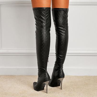 Women's Stretch Knee Boots High Heel Pointed Toe Boots Nihaostyles Wholesale Clothing NSSO81735