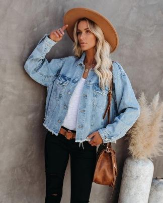 Women's Short Loose Raw Edge Denim Jacket Coat Nihaostyles Wholesale Clothing NSJRM81750