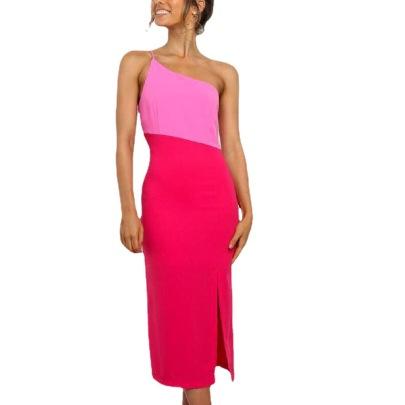 Women's Single Shoulder Sling Split Stitching Dress Nihaostyles Wholesale Clothing NSJRM81756
