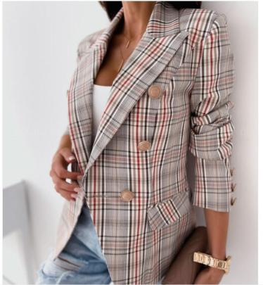 Autumn And Winter Double-breasted Plaid Print Suit Jacket Nihaostyles Wholesale Clothing NSYF81759