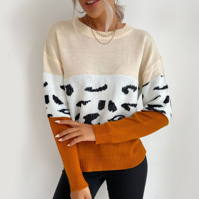 Women's Hit Color Print Knitted Sweater Nihaostyles Wholesale Clothing NSDMB81768