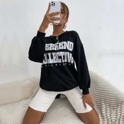 Women's Round Neck Letter Printed Pullover Sweatshirt Nihaostyles Wholesale Clothing NSDMB81770