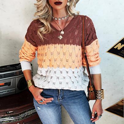Women's V-neck Stitching Sweater Nihaostyles Wholesale Clothing NSZH81773