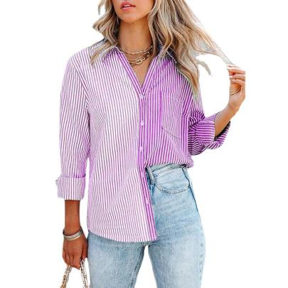 Autumn And Winter Stripes Print Single-breasted Blouses Nihaostyles Wholesale Clothing NSZH81774