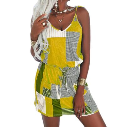 Women's Print Sling Drawstring Casual High-waisted Dress Nihaostyles Wholesale Clothing NSZH81775