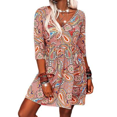 V-neck Print Casual Dress Nihaostyles Wholesale Clothing NSZH81778
