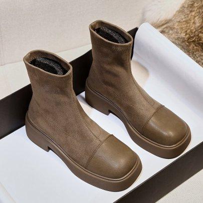 Women's Retro Round Toe Thin Skinny Short Thick Heel Black Boots Nihaostyles Wholesale Clothing NSDFX81786