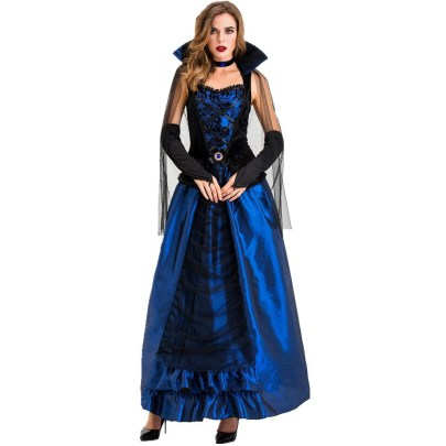 Halloween Cosplay Blue Enchantress Palace Dress Witch Vampire Costume Nihaostyles Wholesale Halloween Costumes NSQHM81795