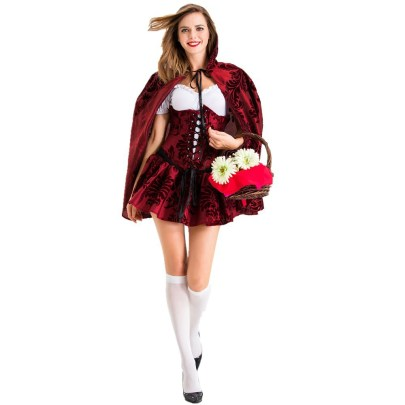 Halloween Cosplay Gothic Style Little Red Riding Hood Nightclub Queen Costume Nihaostyles Wholesale Halloween Costumes NSQHM81802