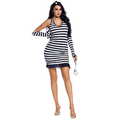 Halloween Cosplay Sexy Halterneck Backless Striped Fishtail Prisoner Dress Nihaostyles Wholesale Halloween Costumes NSPIS81809