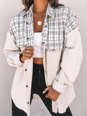 Women's Lapel Pocket Plaid Stitching Corduroy Coat Nihaostyles Wholesale Clothing NSJRM81812