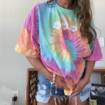 Tie-dye Round Neck Loose Large Size T-shirt Nihaostyles Wholesale Clothing NSJRM81815